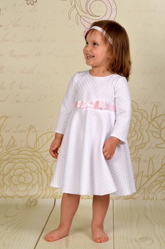 Pikowana sukienka do chrztu Hania z długim rękawkiem.