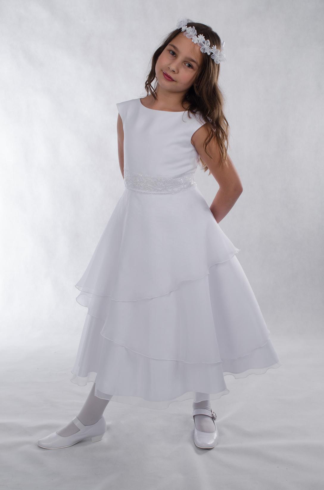 cc519b384d Sukienka komunijna Karla z organzy biała - Suknie Venus