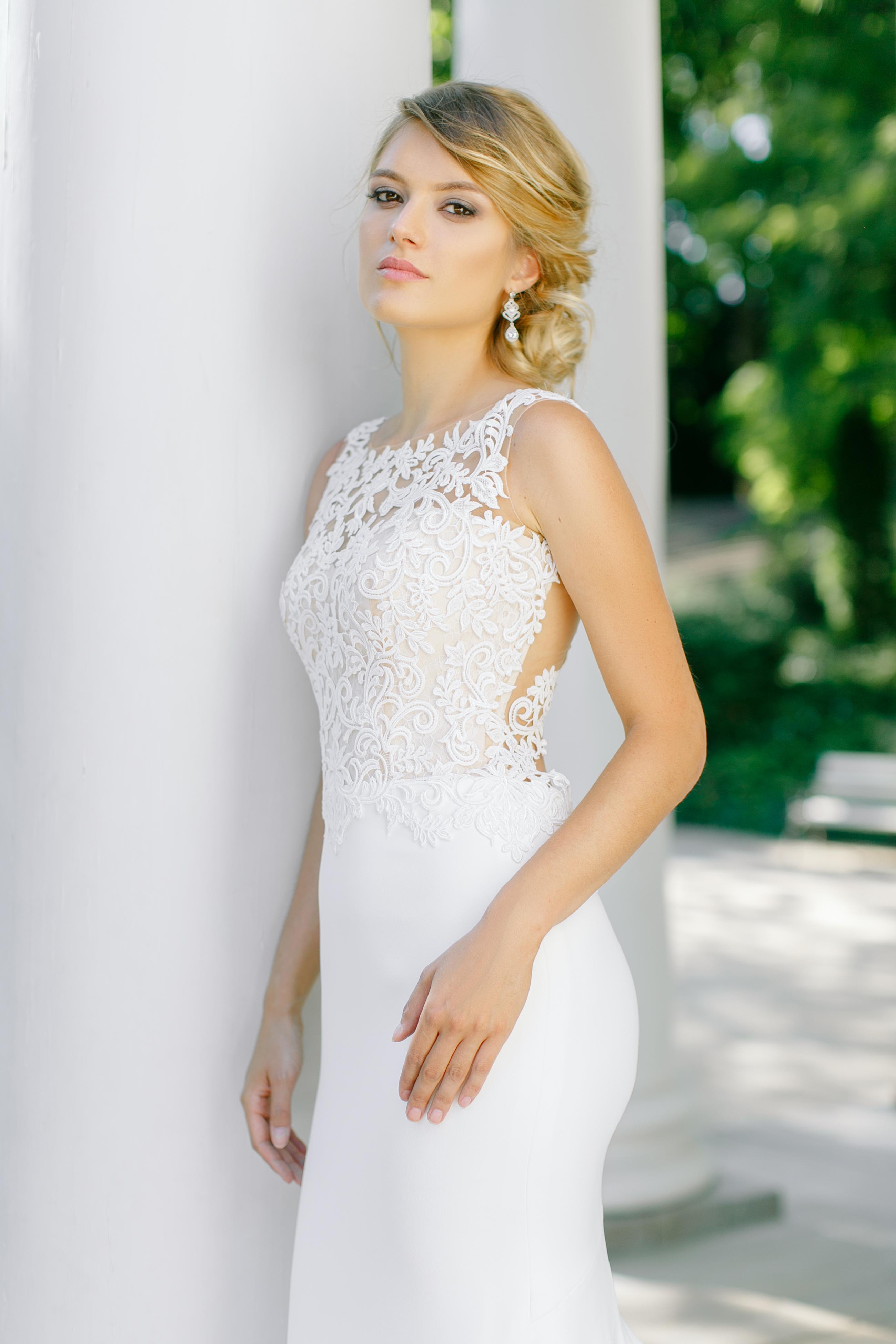 Dopasowana Suknia ślubna Aura Z Piękną Gipiurową Górą